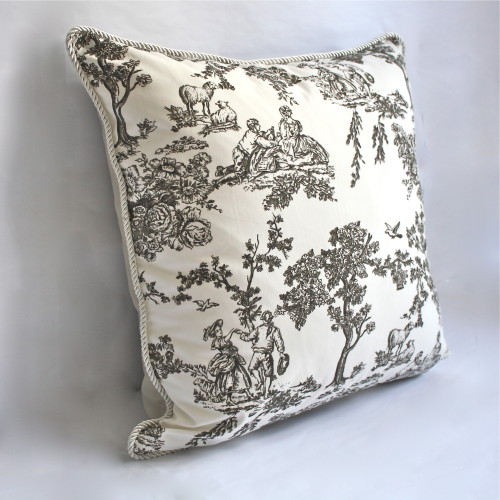 French Toile Ivory Pillow 1