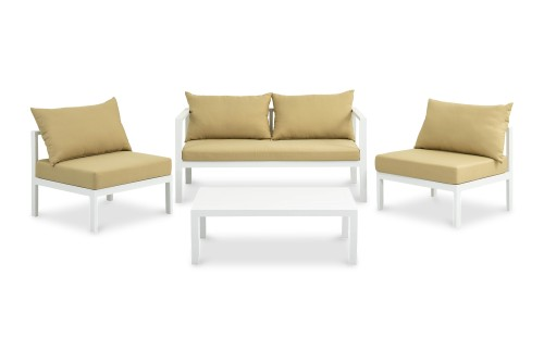 Pastoral 4 Seater Outdoor Sofa Set in White with sepia cushions
