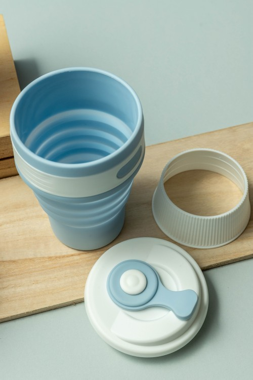 Cleo Silicone Collapsible Coffee Cup 350ml (Powder Blue)