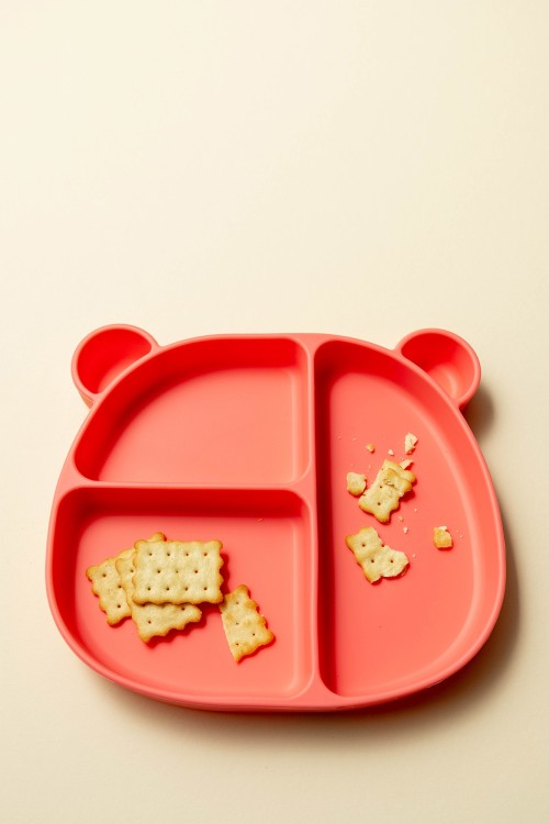 Emmi Silicone Bear Toddler Plate (Coral)