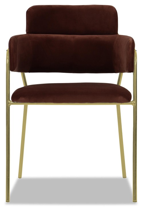 Emmiel Chair with Gold Legs (Brown)
